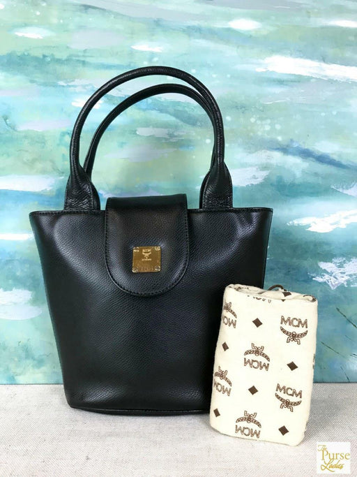 $725 MCM Black Textured Leather Tote Handbag Flap Snap Logo Zipper Gold HW SALE!
