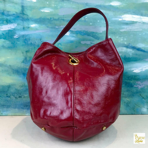 $1095 YVES SAINT LAURENT Capri Pink Patent Leather Bucket Hobo Bag Women's SALE!
