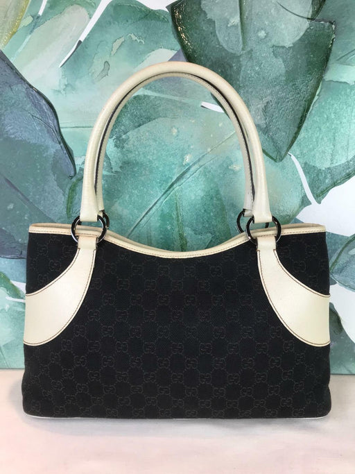 $995 GUCCI Dark Brown GG Web Canvas Tote Shoulder Bag Ivory Leather Trim SALE!