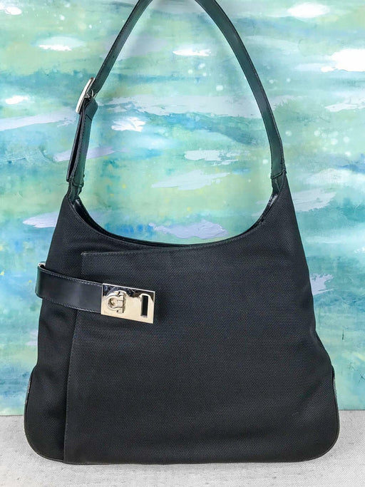 $850 SALVATORE FERRAGAMO Black Nylon Hobo Shoulder Bag Leather Gancini Logo SALE