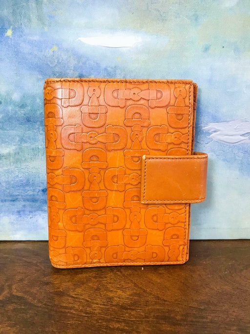 GUCCI Orange Leather Embossed Horsebit Print Snap 6 Ring Agenda Book Cover SALE!