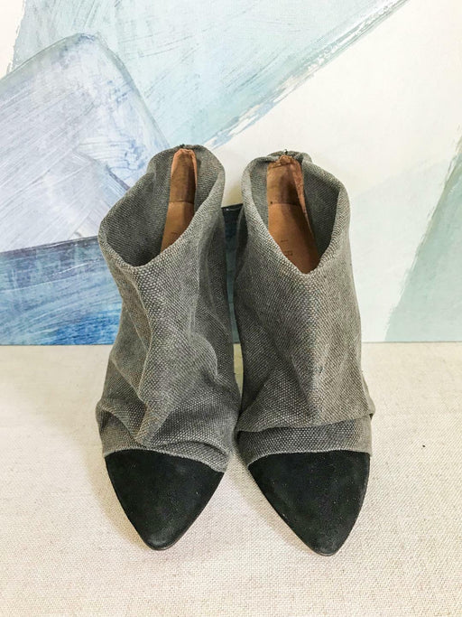 $280 IRO Gray Canvas Black Suede Ankle Boot Slim Heels Shoes Sz. 40 Womens SALE