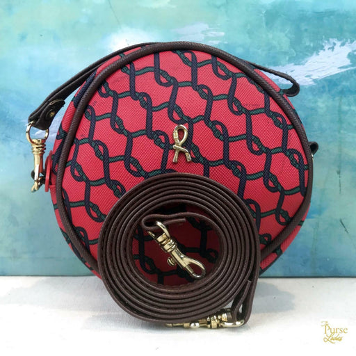 ROBERTA di CAMERINO Red Printed Coated Canvas Round Crossbody Bag Leather SALE!