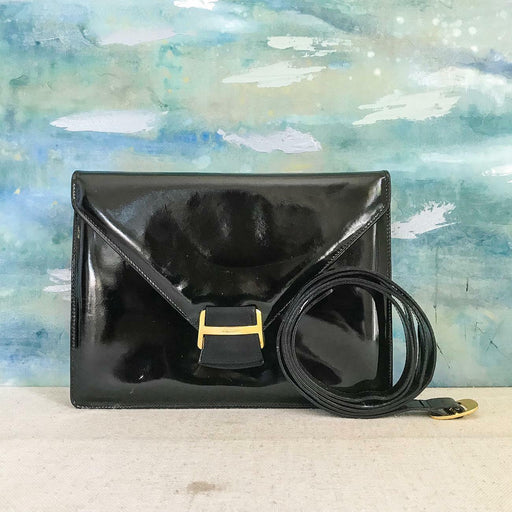 $795 SALVATORE FERRAGAMO Black Patent Leather Flap Shoulder Bag Women's SALE!