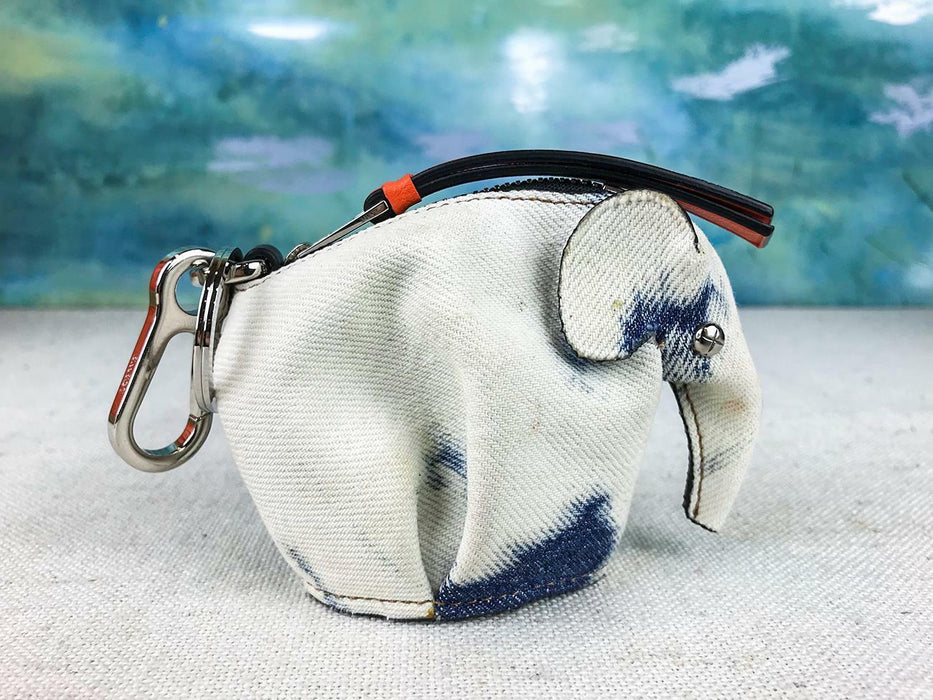 $450 LOEWE Blue Denim Elephant Charm Key Chain Coin Purse Bag Charm Women's SALE