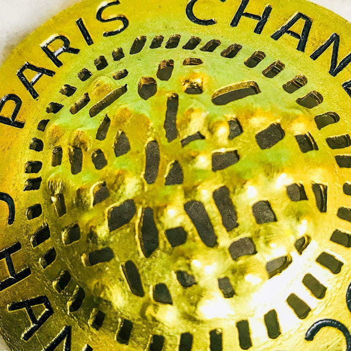 $550 CHANEL Coco Chanel Paris 1994 Gold Engraved Logo Brooch Pin Jewelry SALE!
