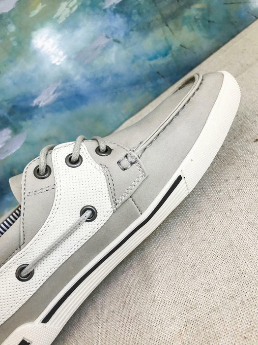 $96 KENNETH COLE UNLISTED Gray White Anchor Shot Boat Shoes Men's Size 8M NEW
