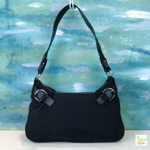 $995 SALVATORE FERRAGAMO Black Gancini Logo Print Canvas Shoulder Bag SALE!