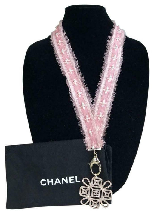 $3500 CHANEL Pink Grosgrain Ribbon Pearl Crystal Lanyard CC Key Holder Necklace