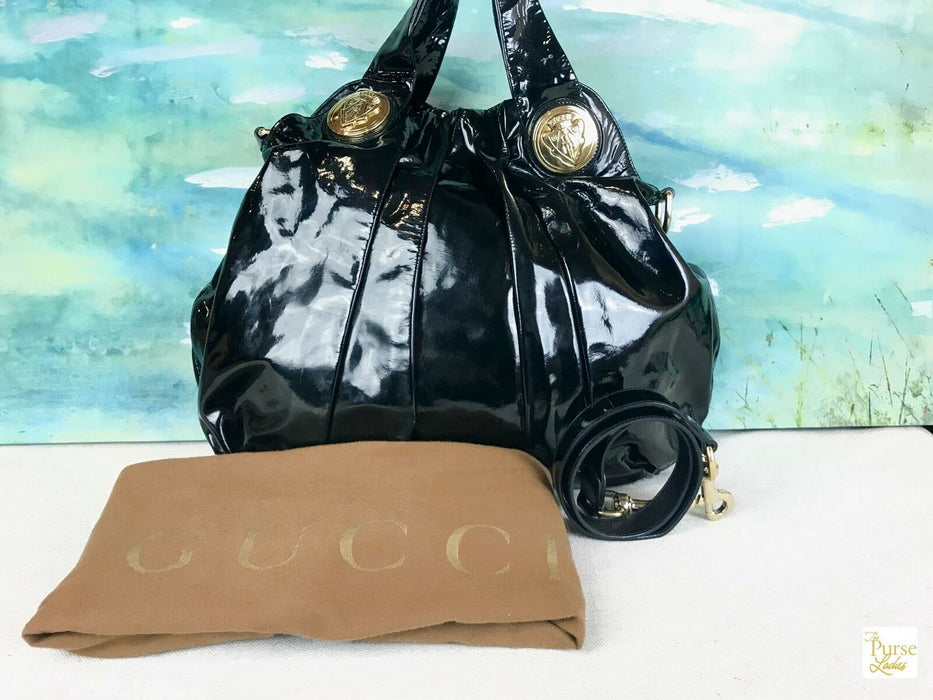 $1360 GUCCI Hysteria Black Patent Leather 2 Way Hobo Shoulder Bag Slouchy SALE!