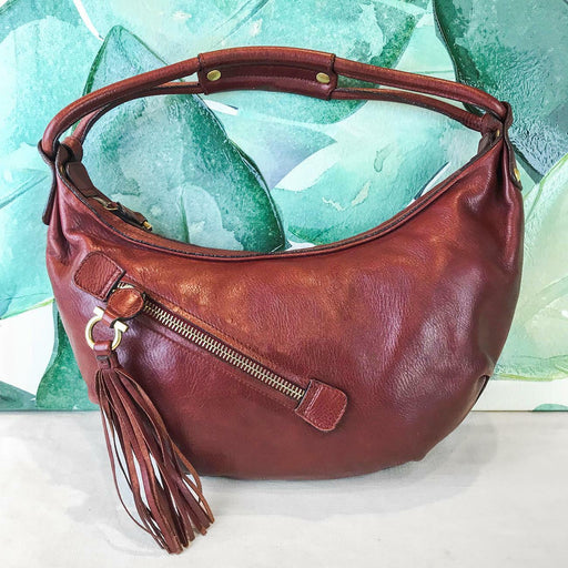 $795 SALVATORE FERRAGAMO Rust Red Leather Hobo Shoulder Bag Gold Tassels SALE!