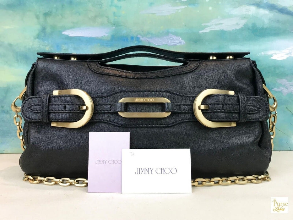 $1290 JIMMY CHOO Thelma Black Camel Leather Top Handle Chain 2 Way Shoulder  Bag