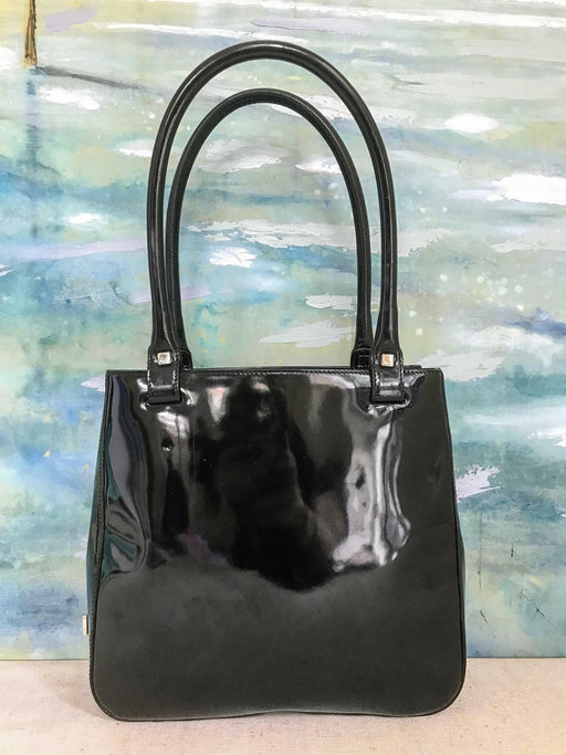 $875 SALVATORE FERRAGAMO Black Patent Leather Tote Shoulder Bag Silver HW SALE!