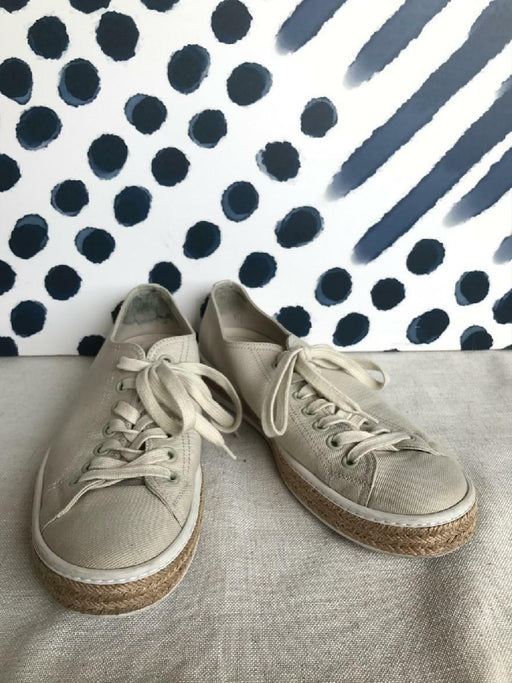 PRADA Beige Canvas Espadrille Men's Low Top Sneakers Size 9.5 Lace Up ON SALE!