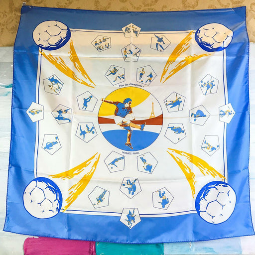 $430 HERMES Blue Yellow Vive Les Champions 100% Silk Soccer Paris Women's Scarf