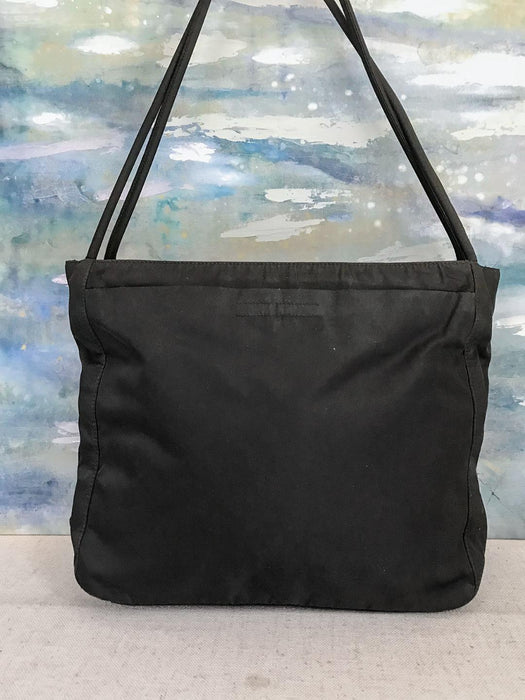 77549b344583 $680 PRADA Black Nylon Tote Shoulder Bag Double Rolled Strap Top Zip SALE!  EUC