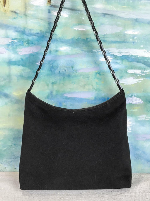 $790 SALVATORE FERRAGAMO Black Canvas Hobo Shoulder Bag Lucite Straps SALE! EUC