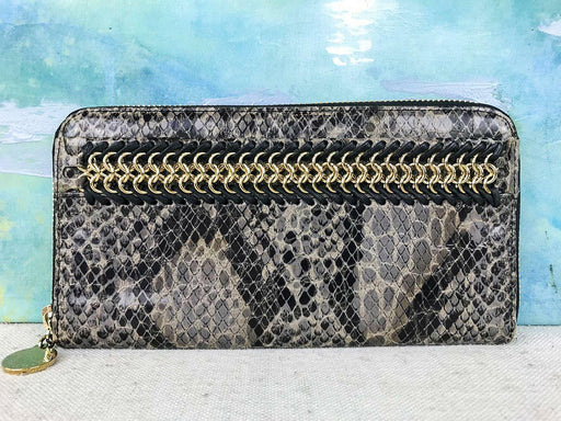 $395 STELLA MCCARTNEY Gray Matte Faux Snakeskin Zip Around Chain Wallet SALE!