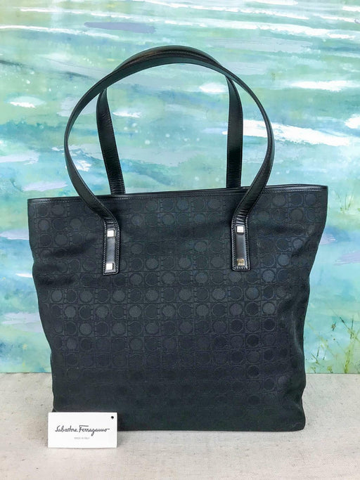 $895 SALVATORE FERRAGAMO Black Monogram Canvas Tote Shoulder Bag Leather SALE!