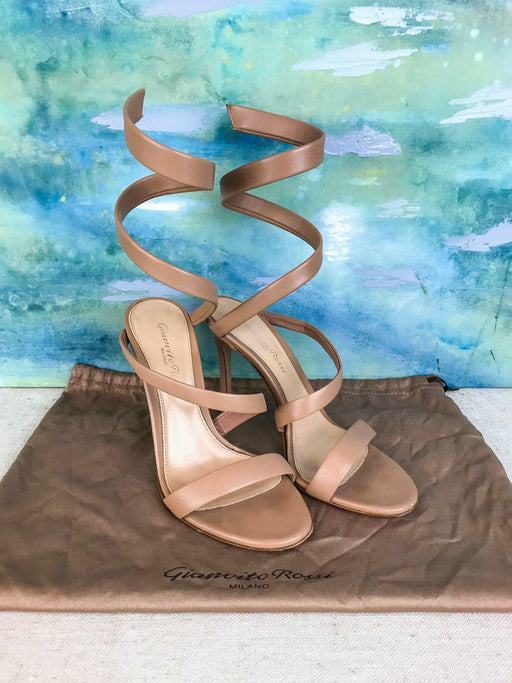 $1245 GIANVITO ROSSI Opera Beige Leather Ankle Wrap Sandals Heels SZ 35.5 SALE!