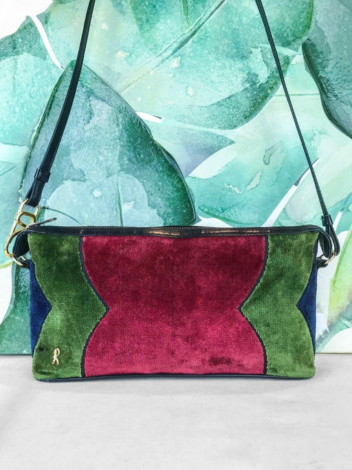 $1500 ROBERTA di Camerino Red Multicolor Velvet Crossbody Bag Leather Logo SALE!