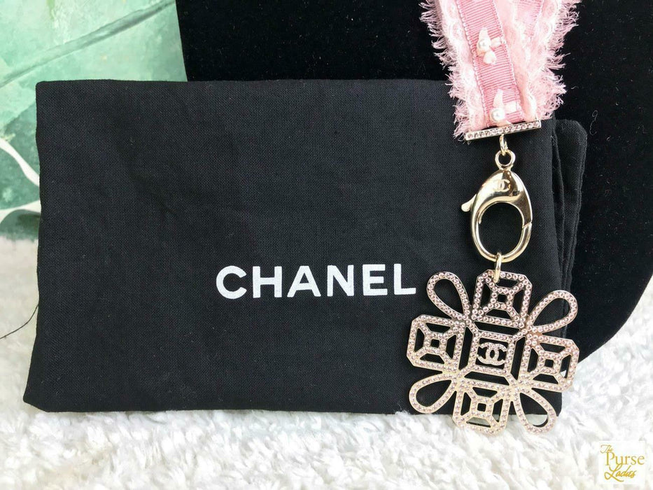 CHANEL Pink Grosgrain Ribbon Pearl Crystal Lanyard CC Key Holder Necklace