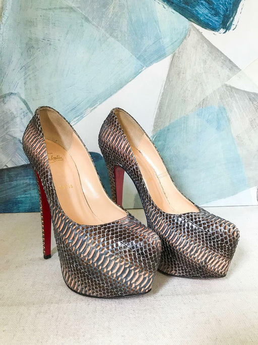 CHRISTIAN LOUBOUTIN Brown Python Snakeskin Daffodile Platfrom Pumps SZ 39 Heels
