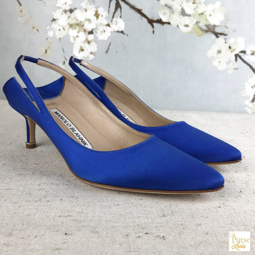 MANOLO BLAHNIK Blue Satin Vetements Heels SZ 35