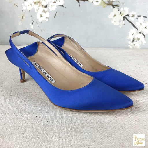 MANOLO BLAHNIK Blue Satin Vetements Heels SZ 37.5