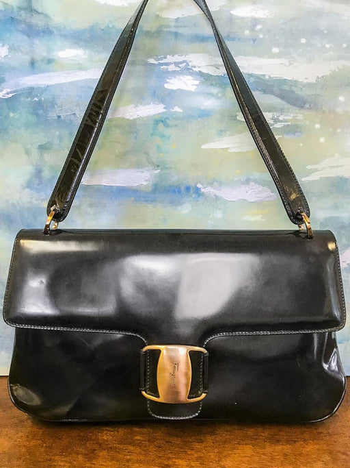 SALVATORE FERRAGAMO Black Patent Leather Gold Buckle Flap Shoulder Bag on SALE!