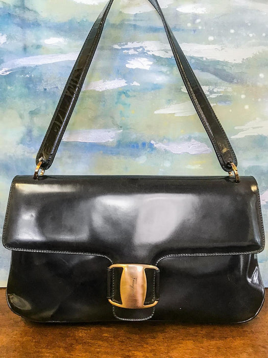 e8b0bf1aa84 SALVATORE FERRAGAMO Black Patent Leather Gold Buckle Flap Shoulder Bag on  SALE!