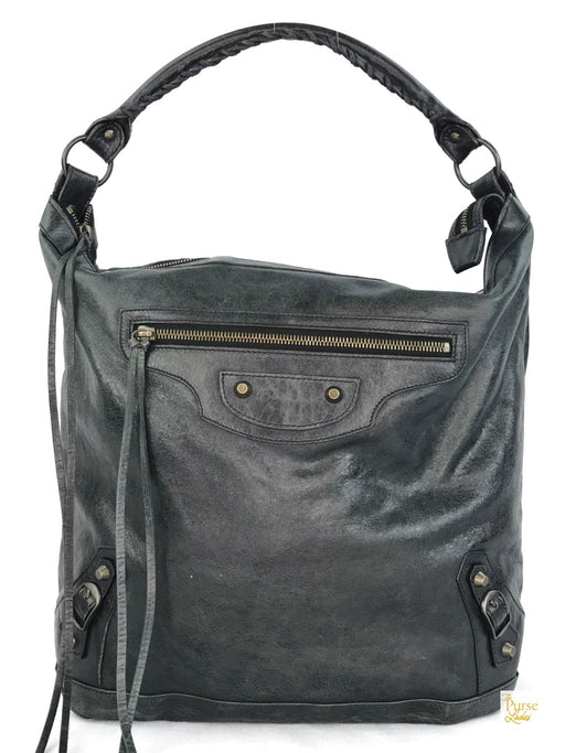 BALENCIAGA Messenger Dark Green Leather Bag