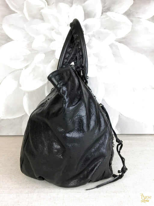 BALENCIAGA Black Agneu Sunday Tote Bag