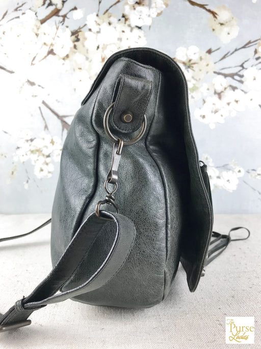 BALENCIAGA Green Motocross Folk Classic Messenger Bag