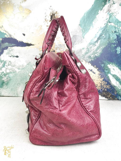 BALENCIAGA Pink Leather Midday Tote Bag