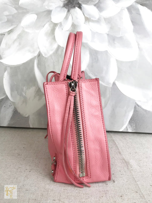 BALENCIAGA Pink Leather Mini Papier 2 Way Tote Bag