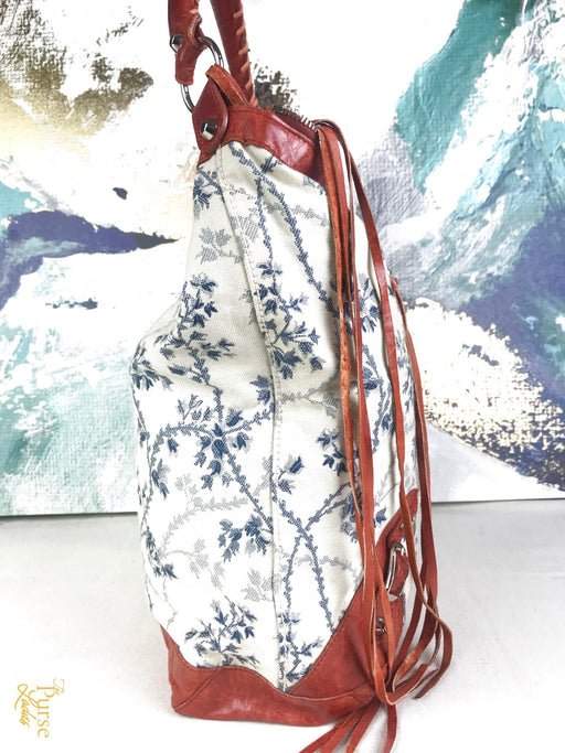 BALENCIAGA Ivory Floral Cotton Canvas Work Bag