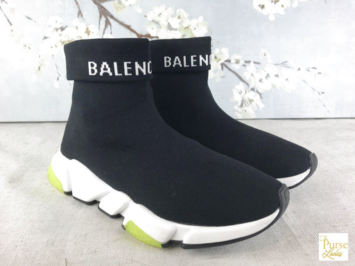 BALENCIAGA Black Knit Folded Speed Socks Sneakers Men's SZ 9