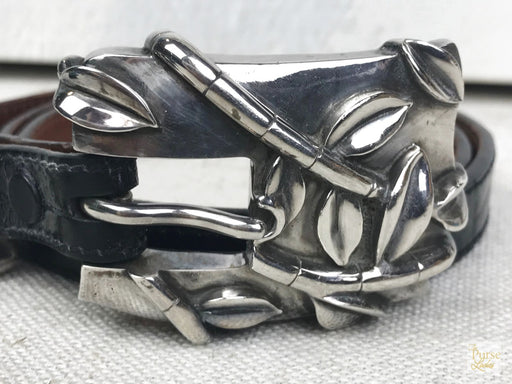 BARRY Kieselstein-Cord Sterling Silver Bamboo Buckle Belt SZ 2