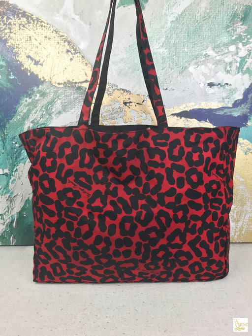 Bottega Veneta Red Black Leopard Reversible Canvas Tote