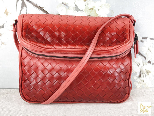 BOTTEGA VENETA Red Ombre Intrecciato Leather Crossbody