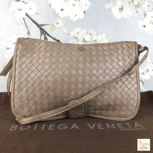 BOTTEGA VENETA Beige Intrecciato Leather Flap Crossbody