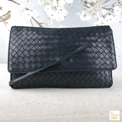 BOTTEGA VENETA Navy Blue Intrecciato Leather Crossbody Bag