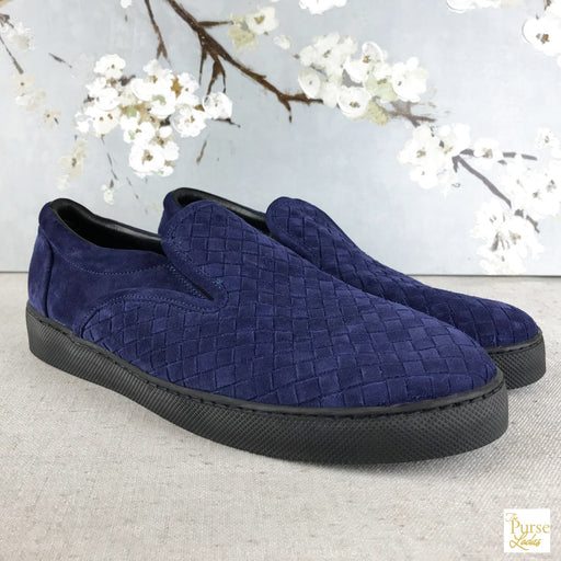 BOTTEGA VENETA Blue Intrecciato Suede Skate Shoes