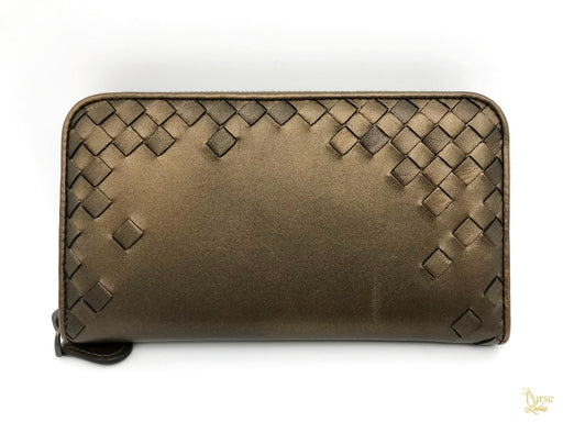 $650 BOTTEGA VENETA Intrecciato Bronze Metallic Leather Wallet Zip Around SALE!
