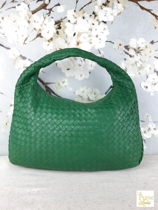 BOTTEGA VENETA Green Intrecciato Leather Hobo Bag