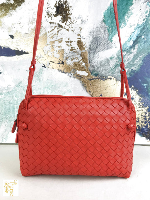 BOTTEGA VENETA Red Nodini Intrecciato Leather Crossbody