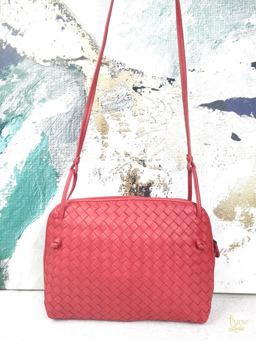 BOTTEGA VENETA New Red Intrecciato Small Nodini Crossbody