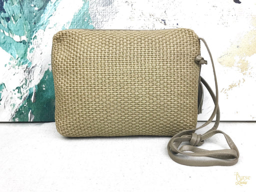 BOTTEGA VENETA Beige Natural Woven Jute Crossbody