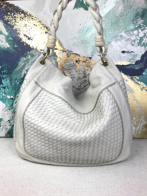 BOTTEGA VENETA White Intrecciato Leather Large Hobo Bag